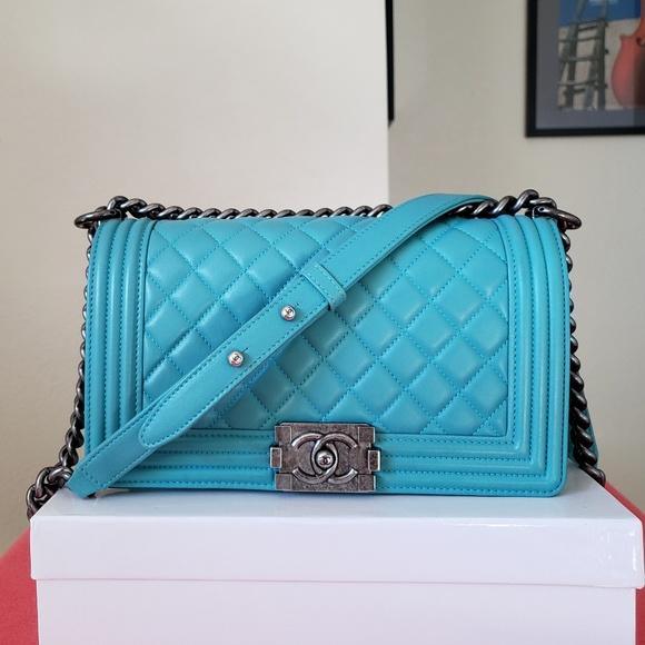 b239f2d93fdc CHANEL Bags | Boy Medium Teal Turquoise Bag Handbag | Poshmark